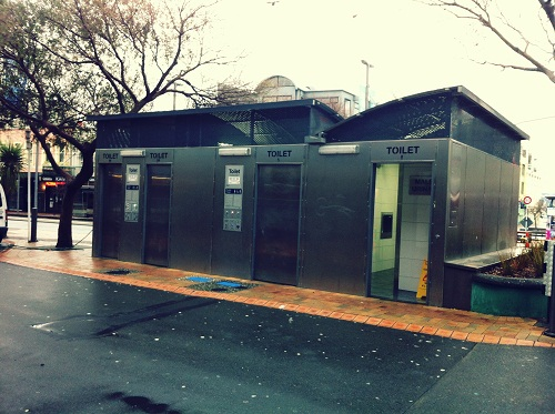 Courtenay Place robotoilets... they look so innocent from the outside.