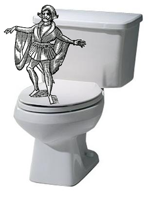A bard having a blast in the bathroom.