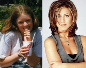 Which one is me, which one is Jennifer Aniston? Pop your answer on a postcard to be in to win!